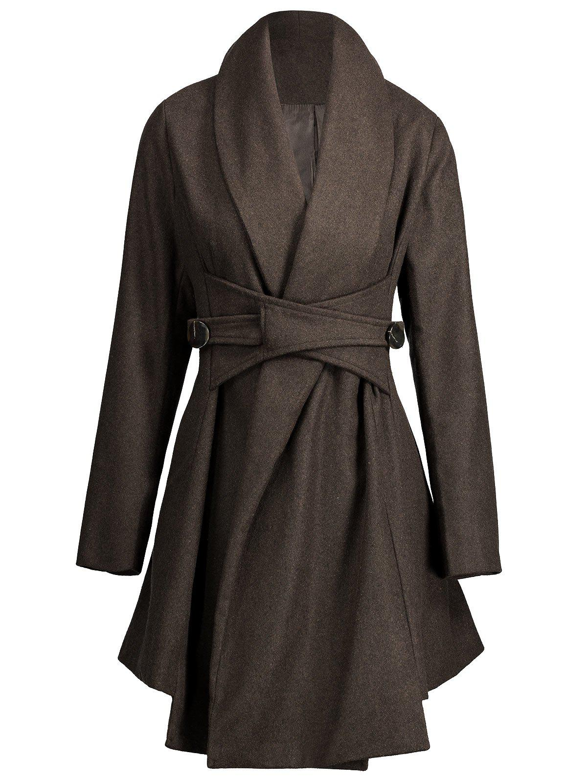 Turn Down Collar Asymmetrical Felt CoatWOMEN<br><br>Size: M; Color: DARK COFFEE; Clothes Type: Wool &amp; Blends; Material: Acrylic,Polyester; Type: High Waist; Shirt Length: Regular; Sleeve Length: Full; Collar: Turn-down Collar; Pattern Type: Solid; Embellishment: Button; Style: Fashion; Season: Fall,Spring,Winter; With Belt: No; Weight: 1.2000kg; Package Contents: 1 x Coat;