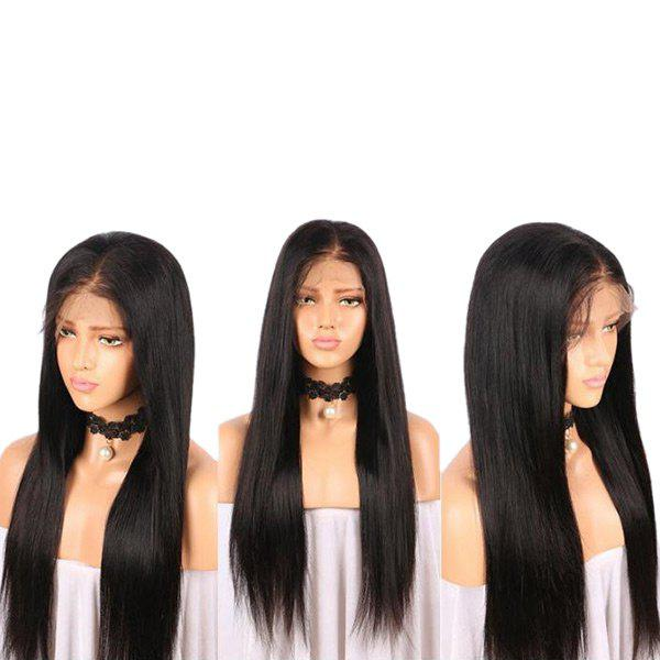 Online Middle Part Long Straight Lace Front Real Human Hair Wig