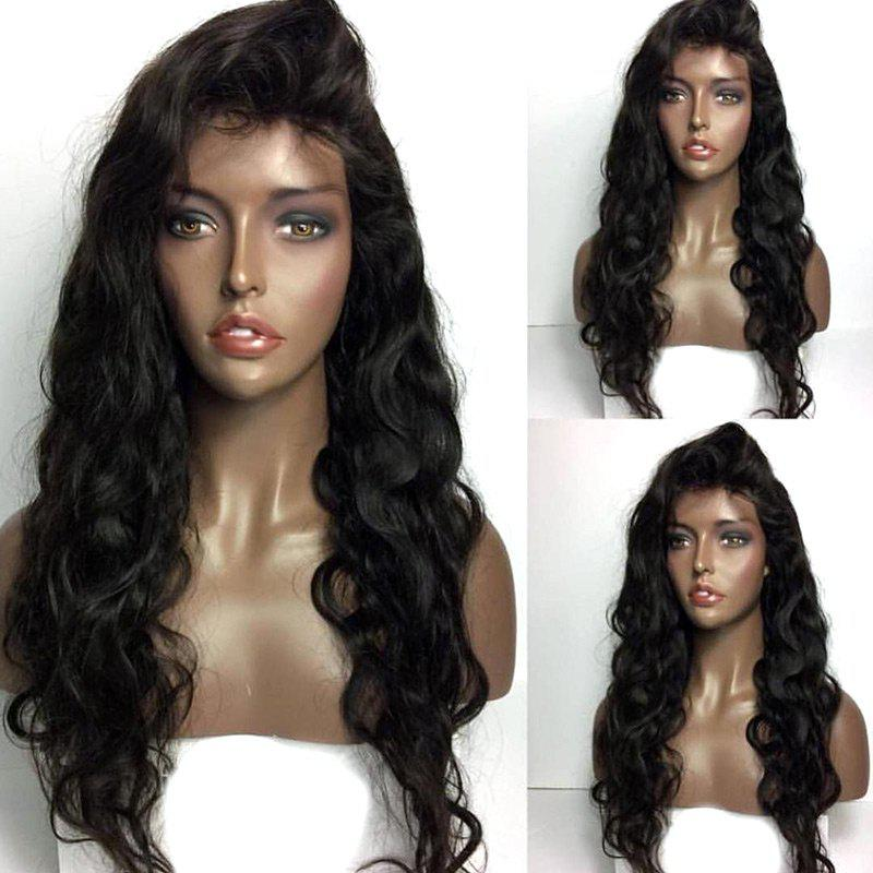 Chic Long Free Part Shaggy Body Wave Real Human Hair Lace Front Wig