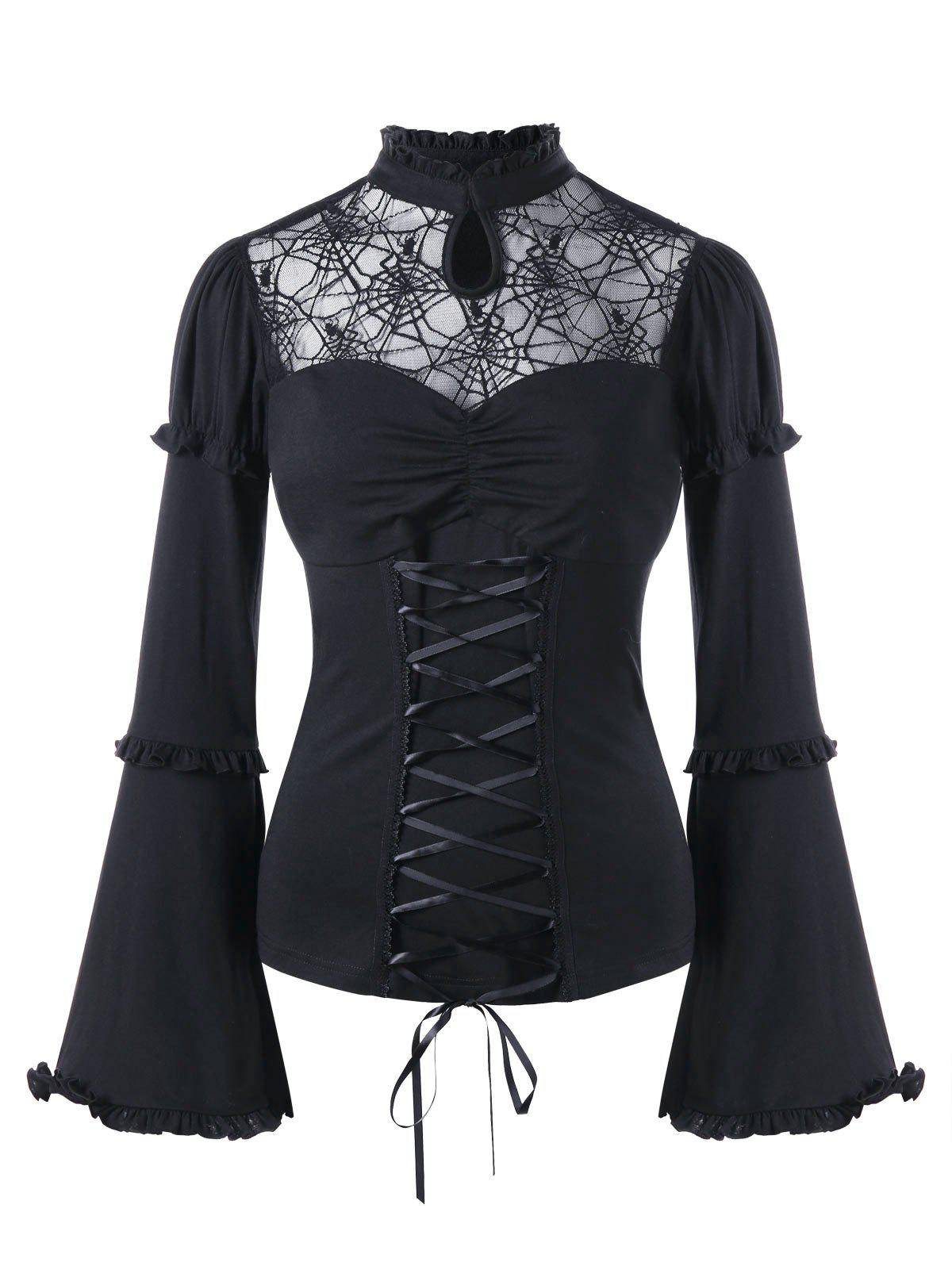 Store Halloween Sheer Lace Up Flare Sleeve Top