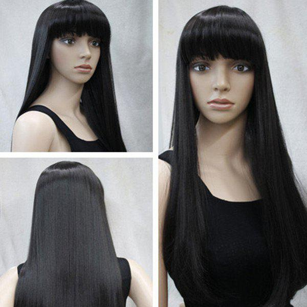 Long Neat Bang Straight Synthetic WigHAIR<br><br>Color: BLACK; Type: Full Wigs; Cap Construction: Capless; Style: Straight; Material: Synthetic Hair; Bang Type: Full; Length: Long; Length Size(CM): About 60; Weight: 0.2000kg; Package Contents: 1 x Wig;