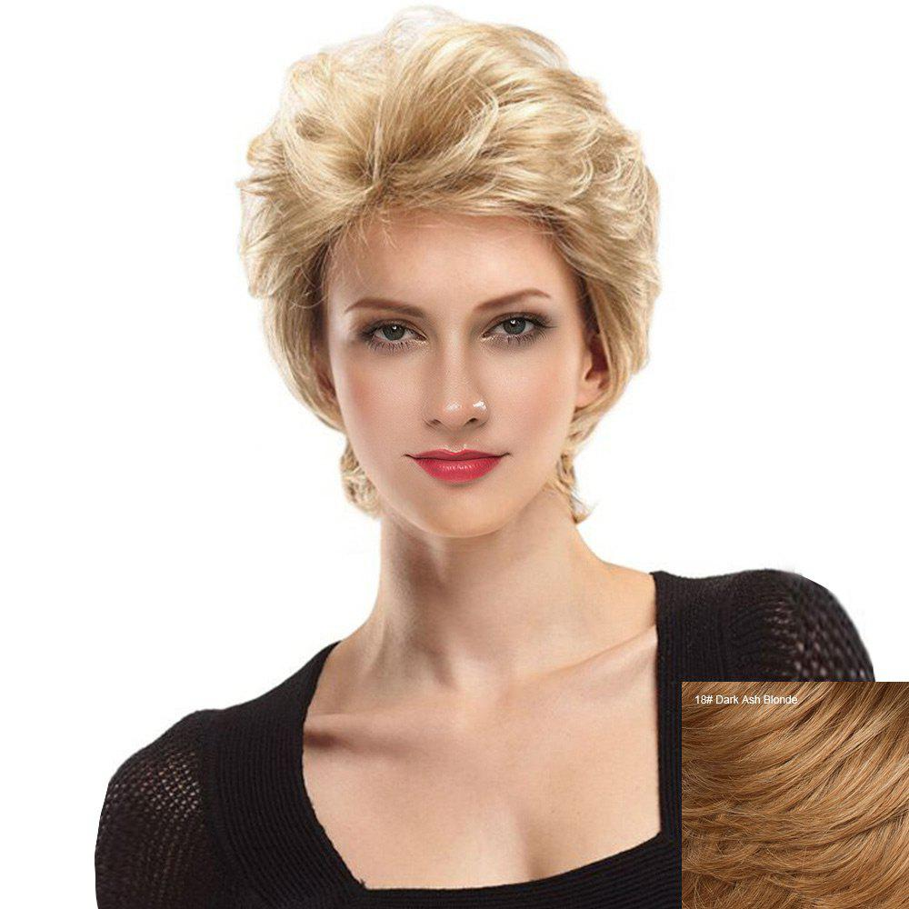 Trendy Short Side Bang Fluffy Slightly Curly Lace Front Human Hair Wig
