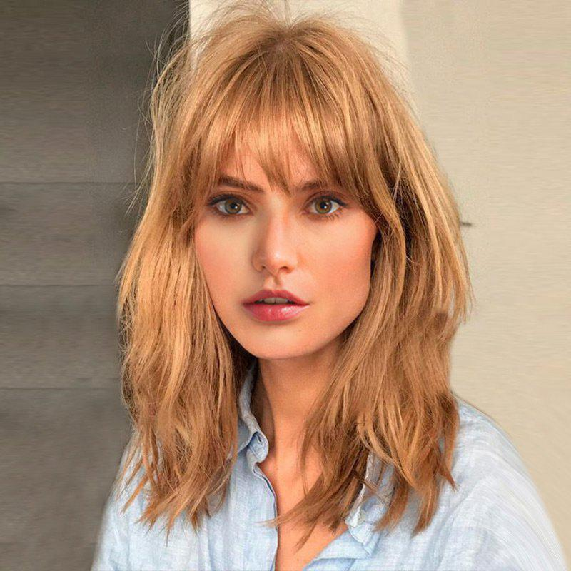 Medium Side Bang Fluffy Natural Straight Human Hair WigHAIR<br><br>Color: LIGHT BLONDE; Type: Full Wigs; Cap Construction: Capless; Style: Straight; Cap Size: Average; Material: Human Hair; Bang Type: Side; Length: Medium; Occasion: Casual,Daily,Office &amp; Career,Party; Length Size(CM): 48; Weight: 0.2700kg; Package Contents: 1 x Wig;