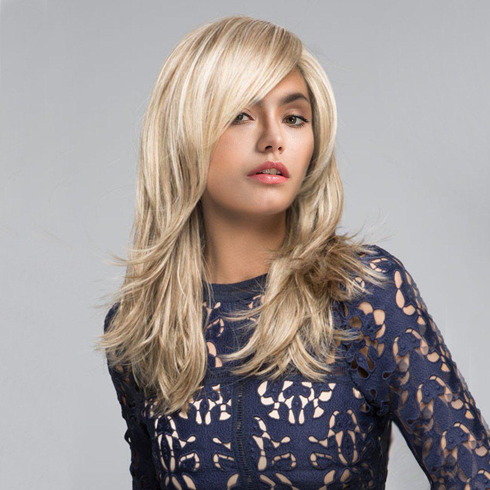 Sale Long Inclined Fringe Natural Straight Synthetic Wig