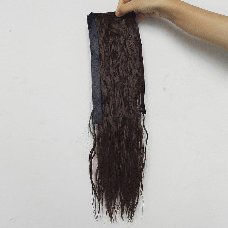Medium Water Wave Synthetic Ponytail Hair ExtensionHAIR<br><br>Color: BROWN; Style: Ponytails; Type: No Attachment(Bulk Hair); Hairstyling: Wavy; Fabric: Synthetic Hair; Length: Medium; Weight: 0.2000kg; Package Contents: 1 x Hair Extension; Length Size(CM): About 45;
