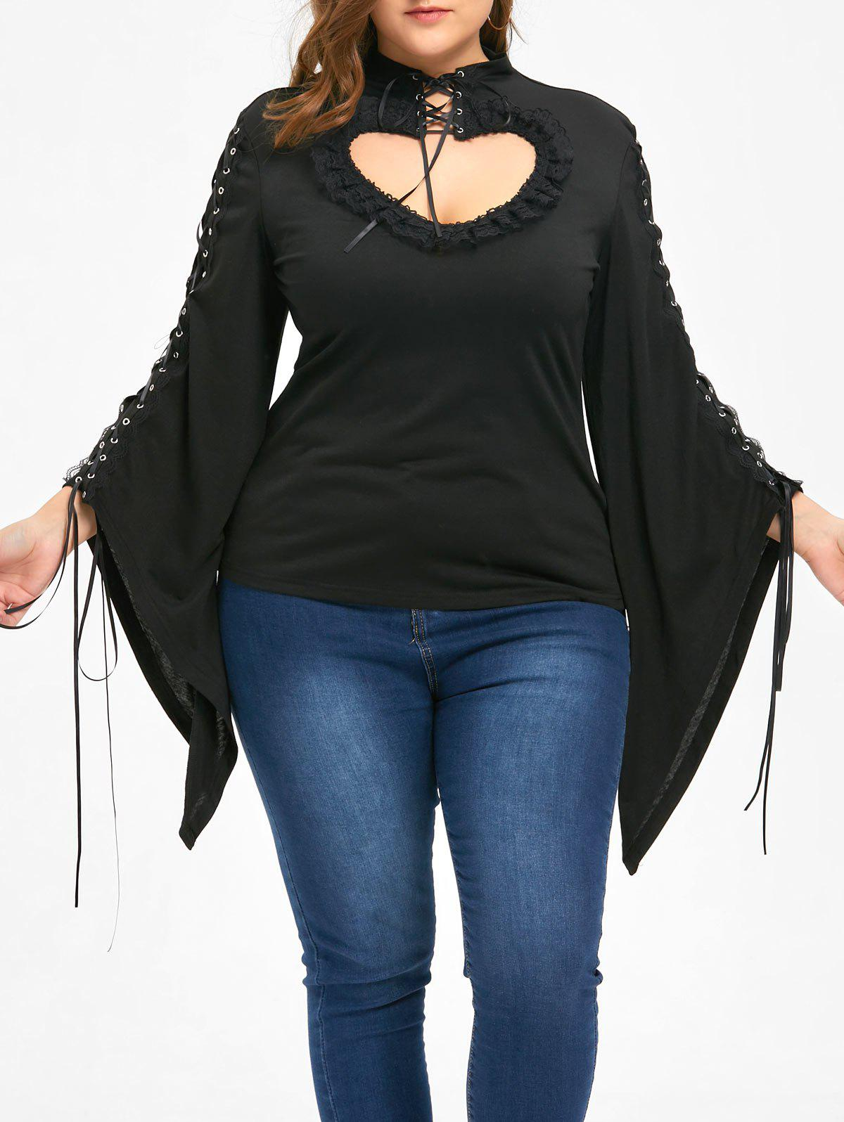 Fancy Halloween Plus Size Lace Up Flounced Keyhole Top