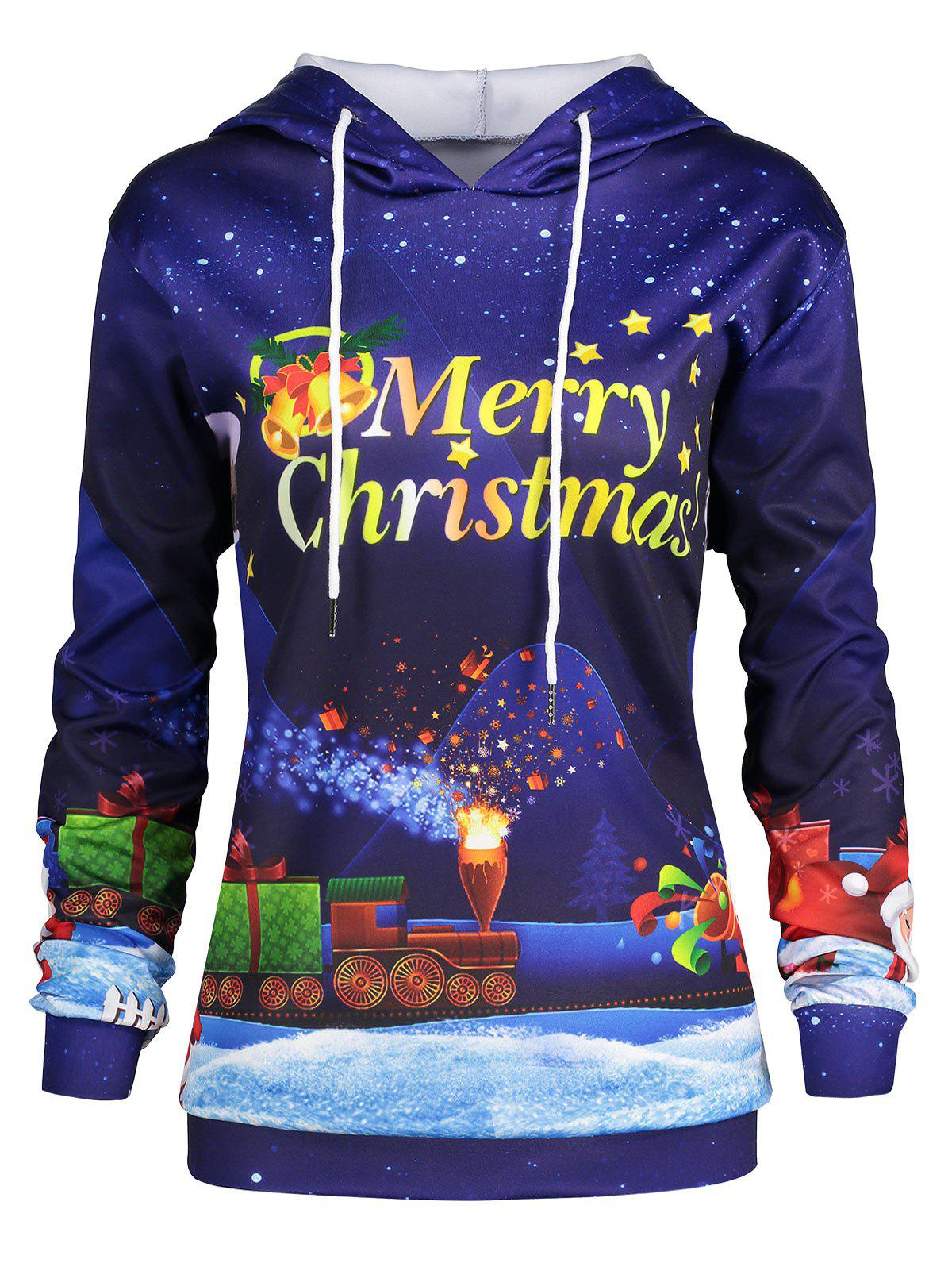 Plus Size Sky Father Christmas Graphic HoodieWOMEN<br><br>Size: 3XL; Color: BLUE; Material: Cotton Blend,Polyester; Shirt Length: Long; Sleeve Length: Full; Style: Fashion; Pattern Style: Character,Letter,Star; Season: Fall,Winter; Weight: 0.3900kg; Package Contents: 1 x Hoodie;