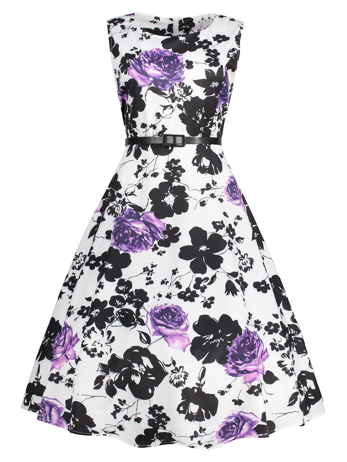 Plus Size Floral Printed Sleeveless Pin Up DressWOMEN<br><br>Size: 5XL; Color: PURPLE; Style: Cute; Material: Cotton Blend,Polyester; Silhouette: A-Line; Dresses Length: Mid-Calf; Neckline: Round Collar; Sleeve Length: Sleeveless; Waist: High Waisted; Pattern Type: Floral,Print; With Belt: No; Season: Fall,Winter; Weight: 0.3500kg; Package Contents: 1 x Dress;