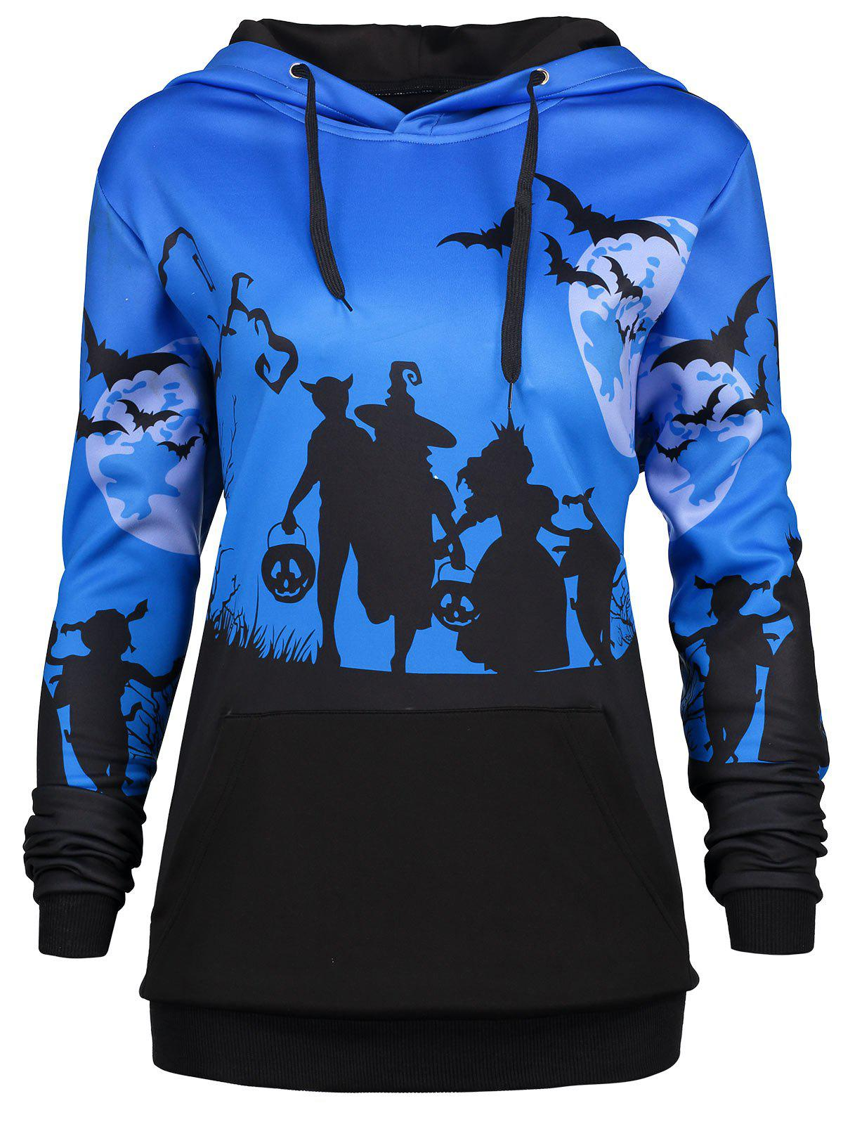Unique Plus Size Halloween Bat Moon Print Hoodie with Pocket