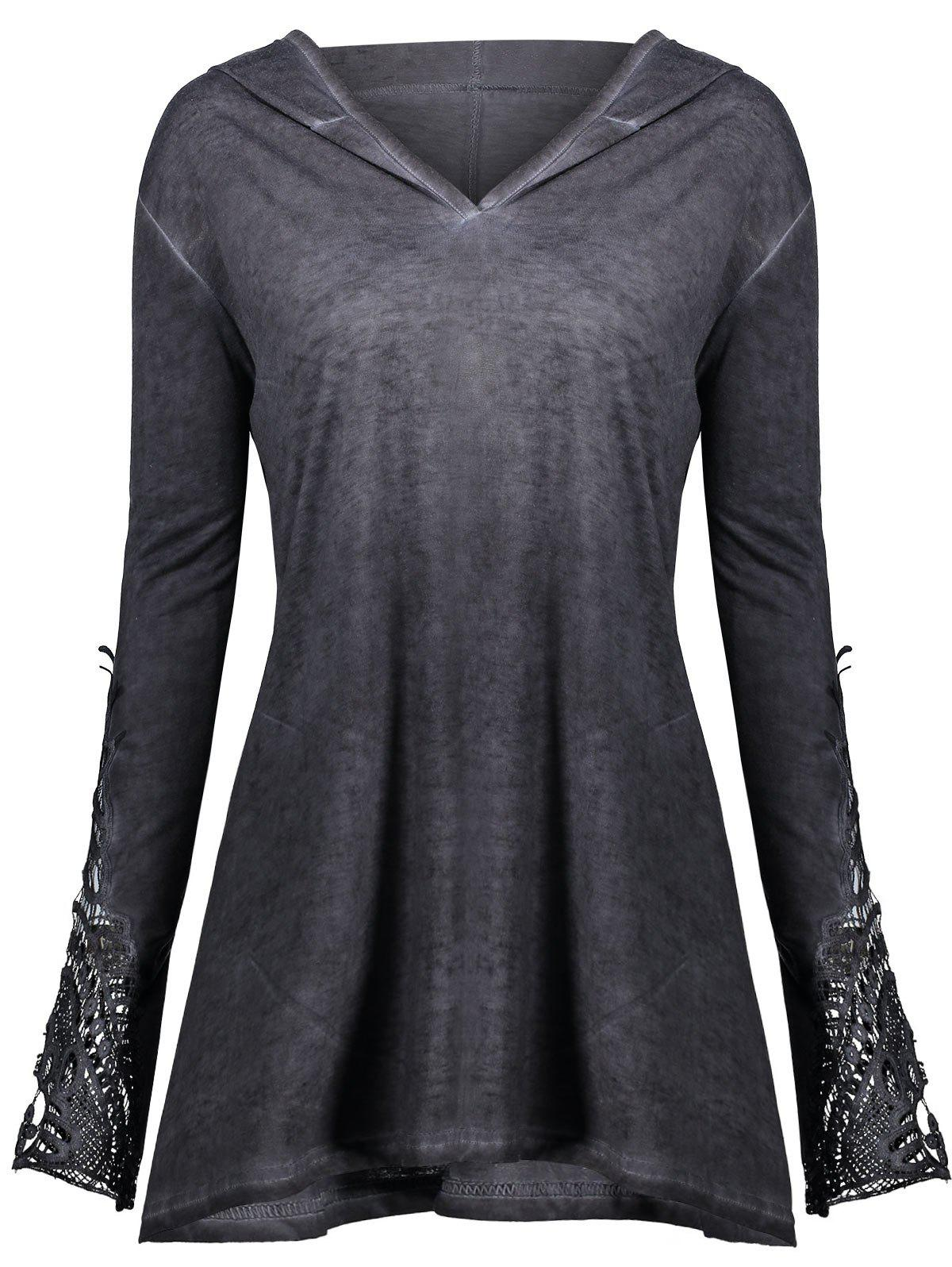 Crochet Insert Plus Size HoodieWOMEN<br><br>Size: 4XL; Color: DARK GRAY; Material: Polyester,Spandex; Shirt Length: Regular; Sleeve Length: Full; Style: Fashion; Pattern Style: Solid; Season: Fall,Spring; Weight: 0.4200kg; Package Contents: 1 x Hoodie;