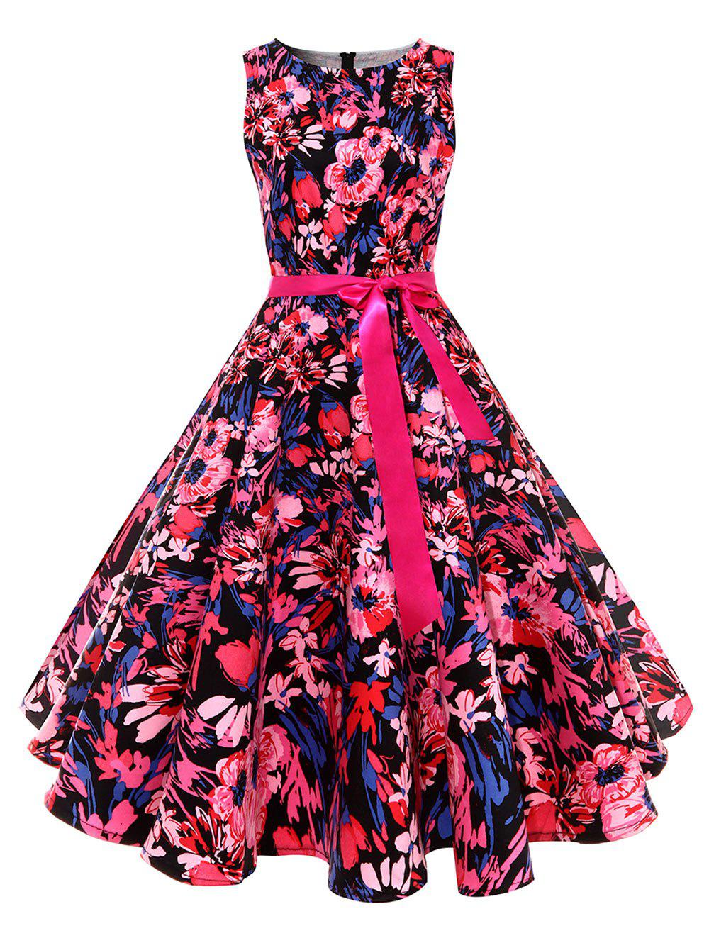 Vintage Floral Print Skater Pin Up DressWOMEN<br><br>Size: 2XL; Color: RED; Style: Vintage; Material: Polyester,Spandex; Silhouette: A-Line; Dress Type: Fit and Flare Dress,Swing Dress; Dresses Length: Knee-Length; Neckline: Round Collar; Sleeve Length: Sleeveless; Pattern Type: Floral; With Belt: Yes; Season: Fall,Spring; Weight: 0.4000kg; Package Contents: 1 x Dress  1 x Belt;