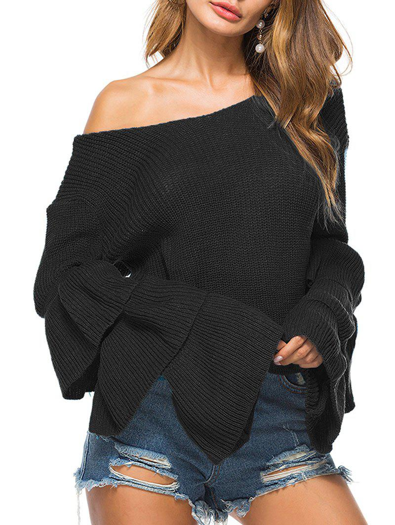 Store Convertible Neck Knit Bell Sleeve Sweater