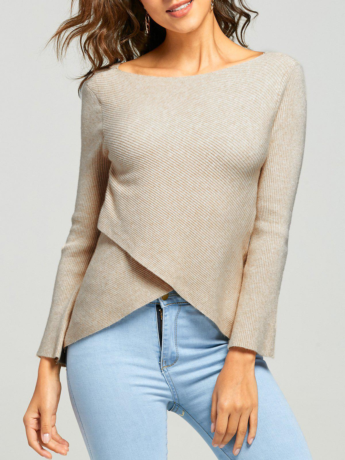 Ribbed Overlap Boat Neck Knitwear 229334001