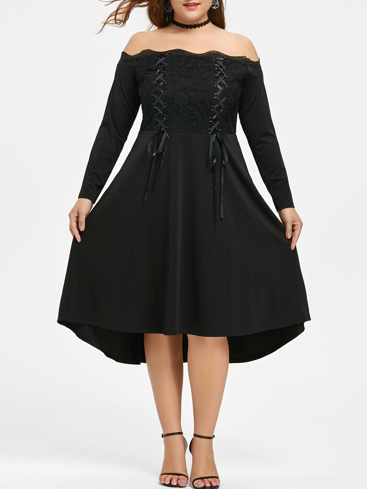 Lace Trim Plus Size Lace-up Off Shoulder DressWOMEN<br><br>Size: XL; Color: BLACK; Style: Cute; Material: Polyester,Spandex; Silhouette: Asymmetrical; Dresses Length: Knee-Length; Neckline: Off The Shoulder; Sleeve Length: Long Sleeves; Embellishment: Lace; Pattern Type: Solid; With Belt: No; Season: Fall,Spring; Weight: 0.5240kg; Package Contents: 1 x Dress;