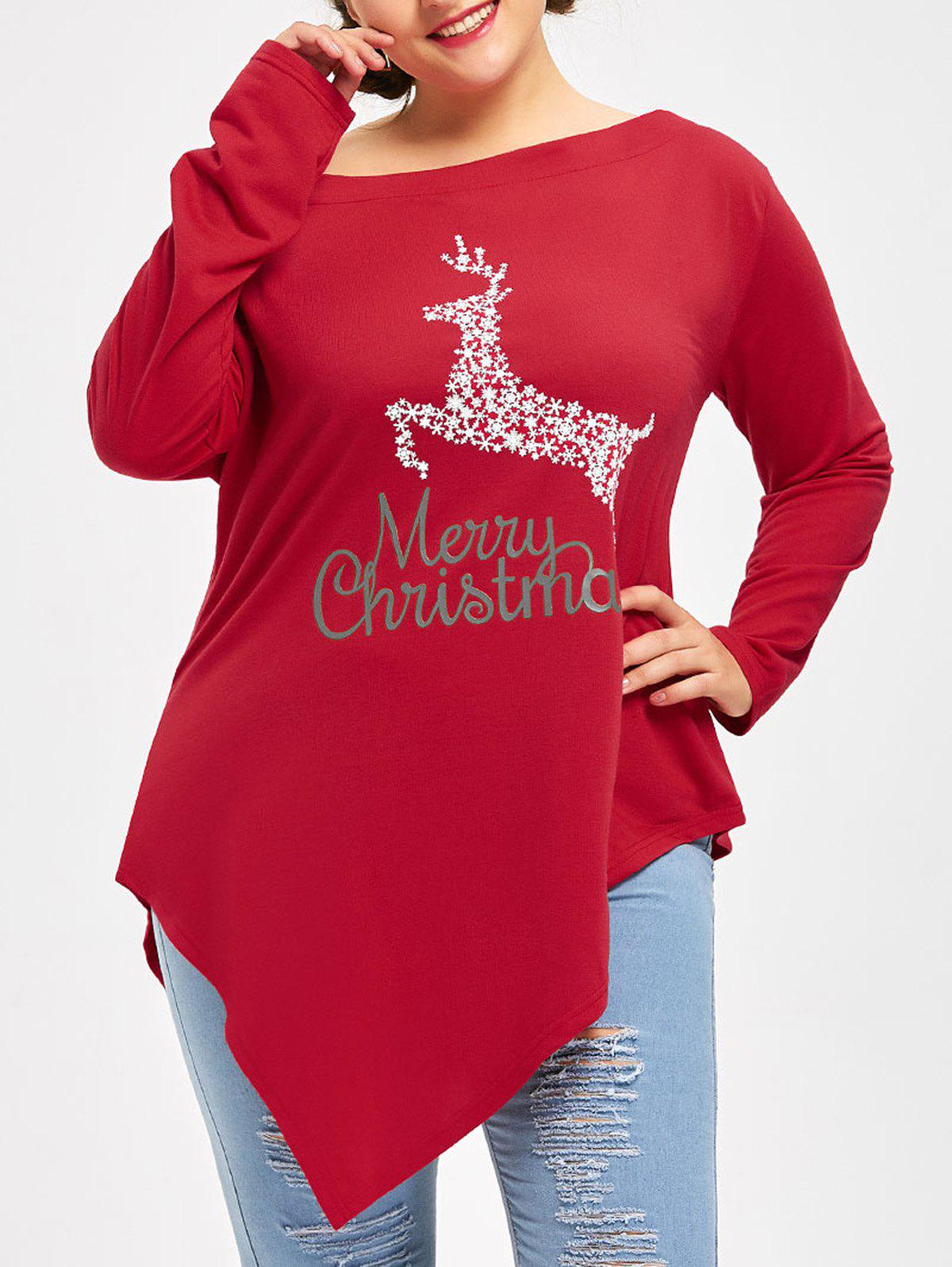Plus Size Merry Christmas Deer Graphic T-shirtWOMEN<br><br>Size: 5XL; Color: RED; Material: Cotton Blends,Polyester; Shirt Length: Long; Sleeve Length: Full; Collar: Skew Collar; Style: Casual; Season: Fall,Winter; Pattern Type: Animal,Print; Weight: 0.3500kg; Package Contents: 1 x Tee;