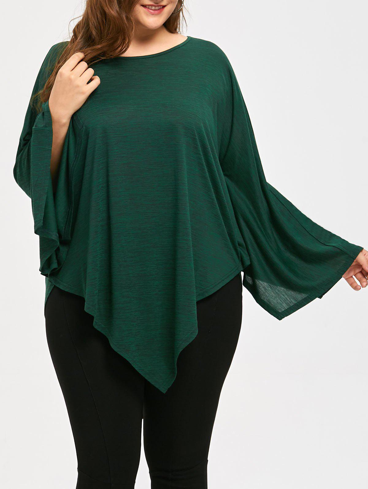 Asymmetric Plus Size Long Cape TopWOMEN<br><br>Size: XL; Color: HUNTER; Material: Cotton Blends,Spandex; Shirt Length: Long; Sleeve Length: Full; Collar: Round Neck; Style: Fashion; Season: Fall,Spring; Pattern Type: Solid; Weight: 0.3120kg; Package Contents: 1 x Top;