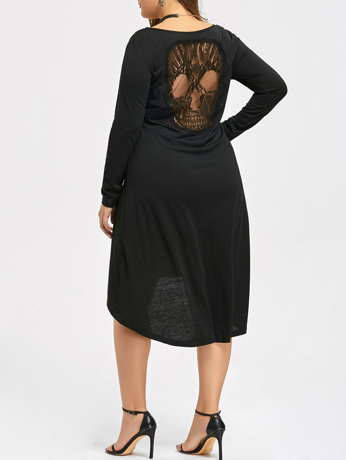 Halloween Plus Size Hollow Out Skull High Low DressWOMEN<br><br>Size: 4XL; Color: BLACK; Style: Cute; Material: Polyester,Spandex; Silhouette: Asymmetrical; Dresses Length: Mid-Calf; Neckline: Scoop Neck; Sleeve Length: Long Sleeves; Pattern Type: Solid; With Belt: No; Season: Fall,Spring; Weight: 0.3690kg; Package Contents: 1 x Dress;