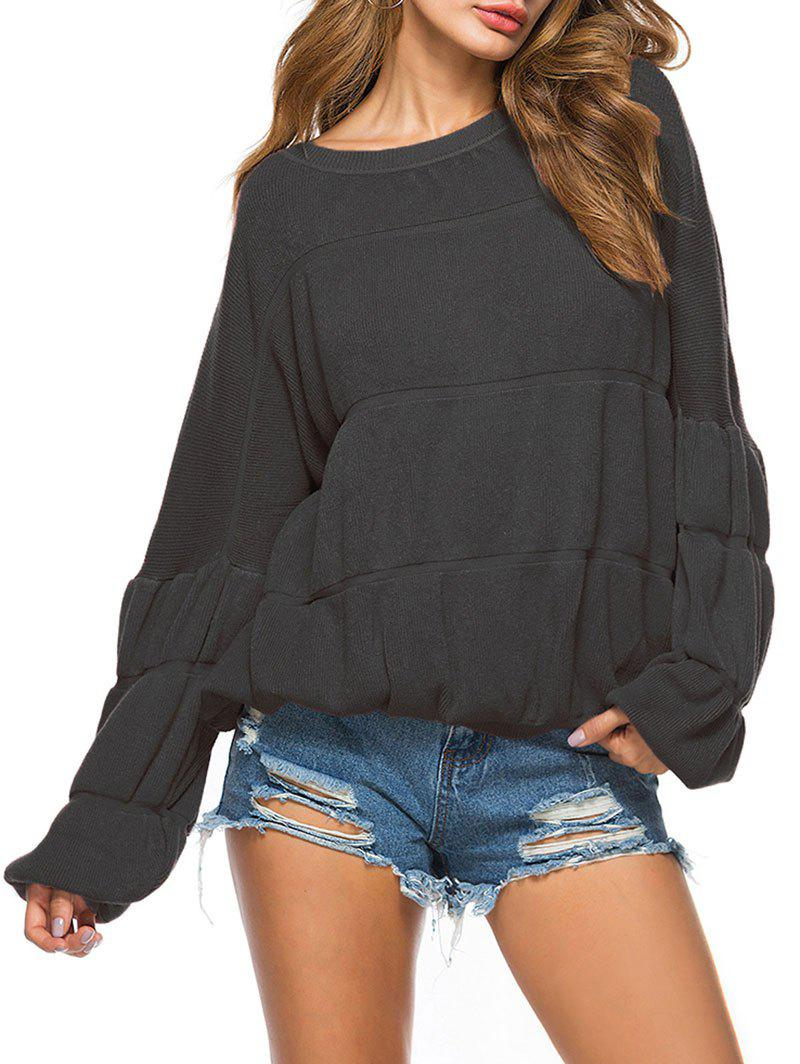Outfits Crew Neck Puff Sleeve Pullover Sweater