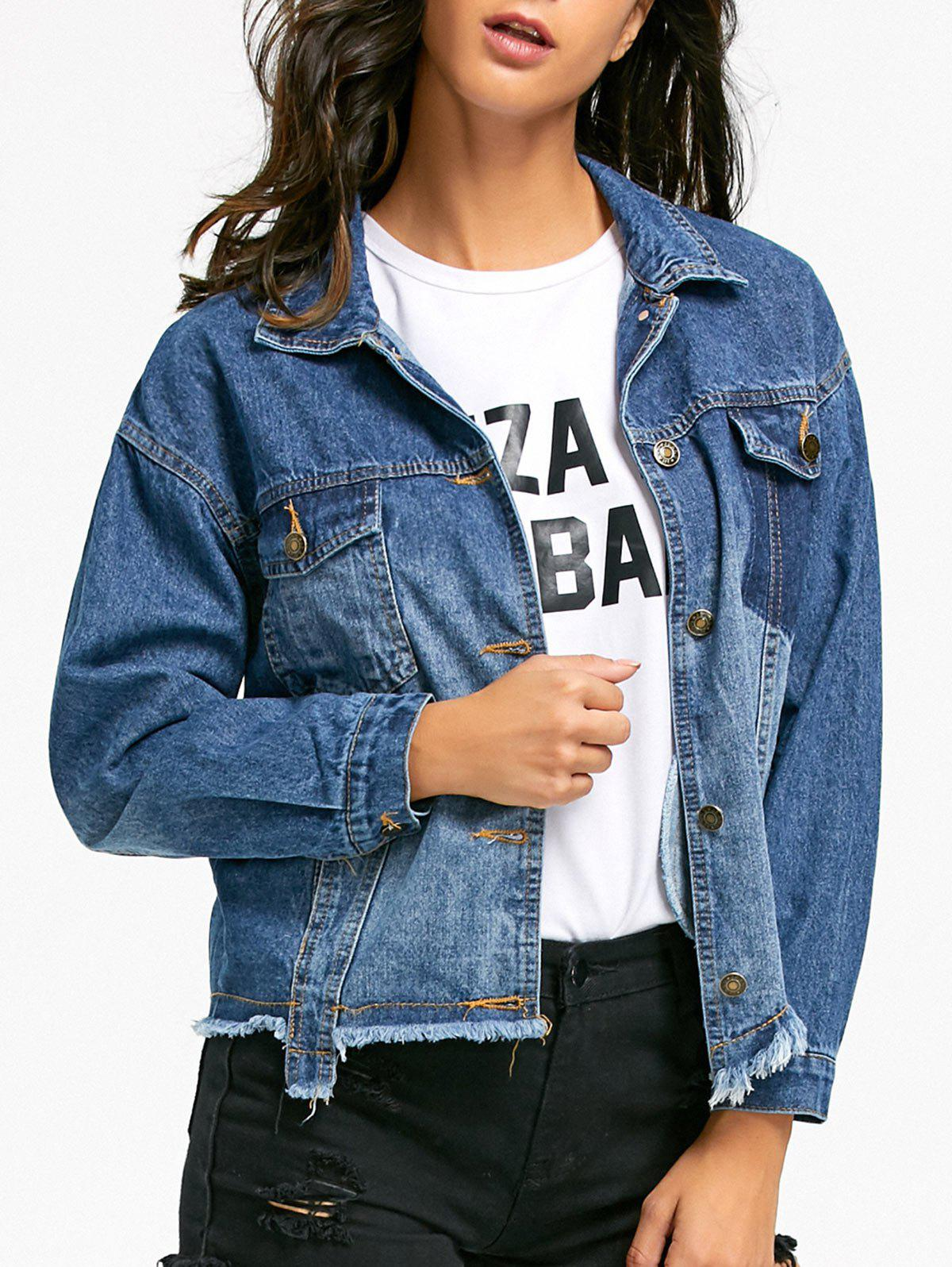 Unique Flap Pockets Raw Hem Jean Jacket
