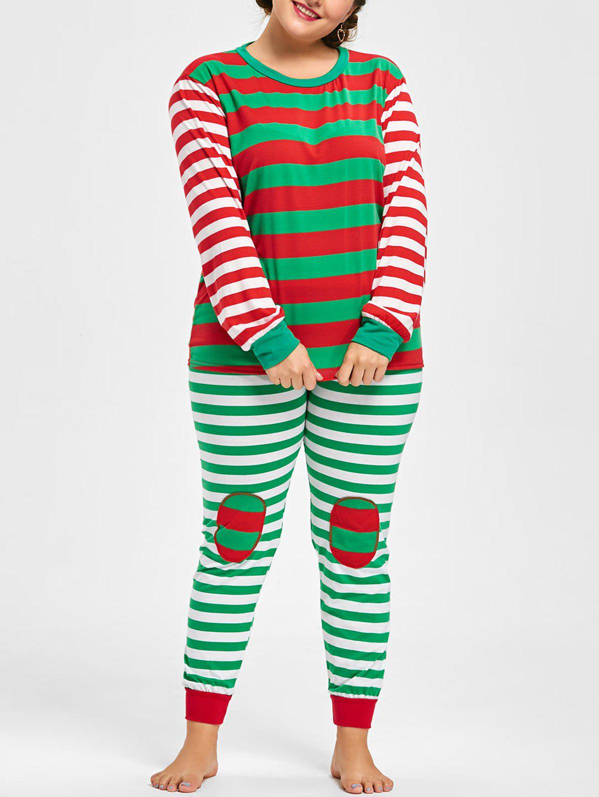 Plus Size Striped Christmas Pajama SetWOMEN<br><br>Size: 2XL; Color: RED AND GREEN; Material: Polyester; Pattern Type: Striped; Embellishment: None; Weight: 0.3700kg; Package Contents: 1 x Top  1 x Pants;