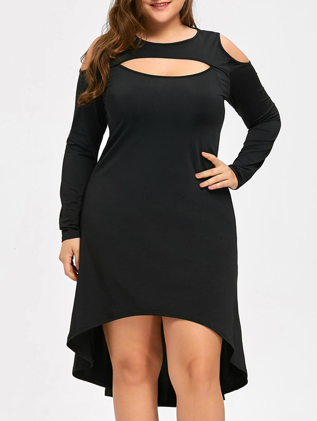 Plus Size Open Shoulder Keyhole Cocktail DressWOMEN<br><br>Size: 3XL; Color: BLACK; Style: Brief; Material: Polyester,Spandex; Silhouette: A-Line; Dresses Length: Knee-Length; Neckline: Round Collar; Sleeve Length: Long Sleeves; Pattern Type: Solid Color; With Belt: No; Season: Fall,Spring; Weight: 0.3400kg; Package Contents: 1 x Dress;