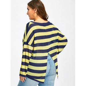 Plus Size Sheer Back Slit Striped Knitted Top - BLUE AND YELLOW XL