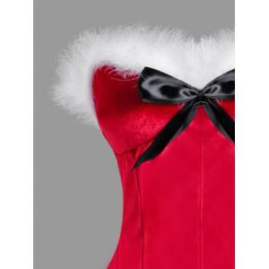Christmas Plus Size Faux Fur Bowknot Embellished Corset -