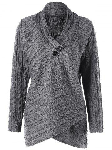 Cheap Plus Size Cable Knit Overlap Fitted Top