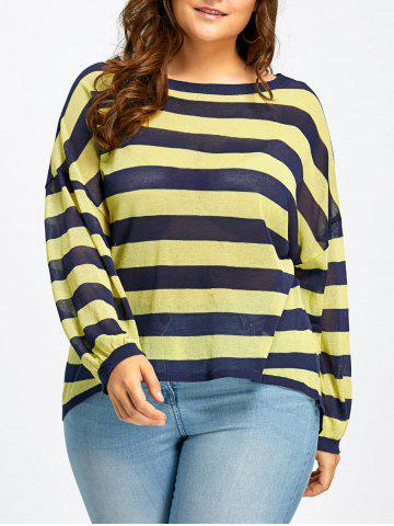 Affordable Plus Size Sheer Back Slit Striped Knitted Top BLUE AND YELLOW XL