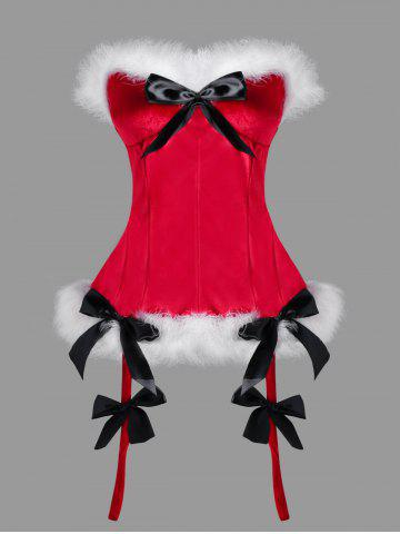 Christmas Plus Size Faux Fur Bowknot Embellished Corset - RED - XL