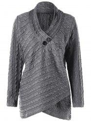 Plus Size Cable Knit Overlap Fitted Top - Gray - 3xl