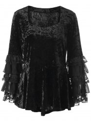Halloween Plus Size Velvet Layered Sleeve Top -