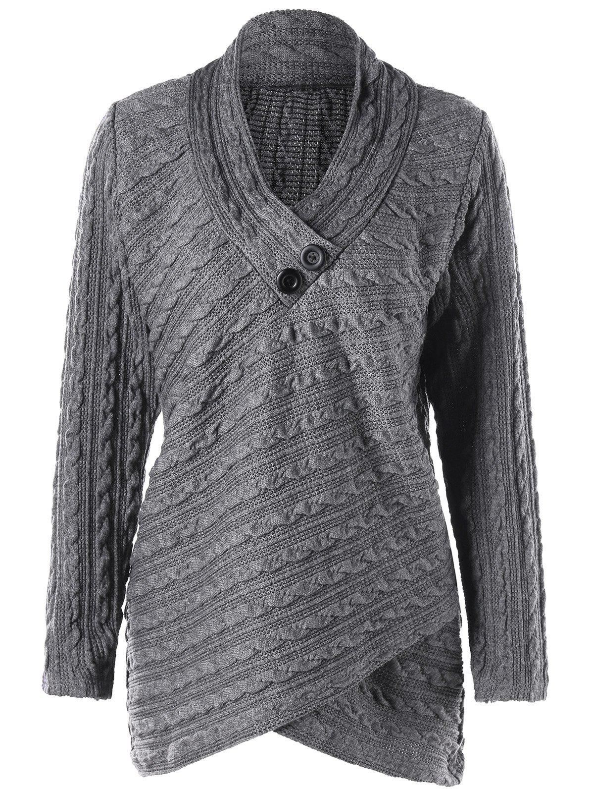 Plus Size Cable Knit Overlap Fitted TopWOMEN<br><br>Size: 5XL; Color: GRAY; Type: Pullovers; Material: Acrylic,Polyester; Sleeve Length: Full; Collar: Stand-Up Collar; Style: Casual; Season: Fall,Spring; Pattern Type: Solid; Weight: 0.6000kg; Package Contents: 1 x Top;