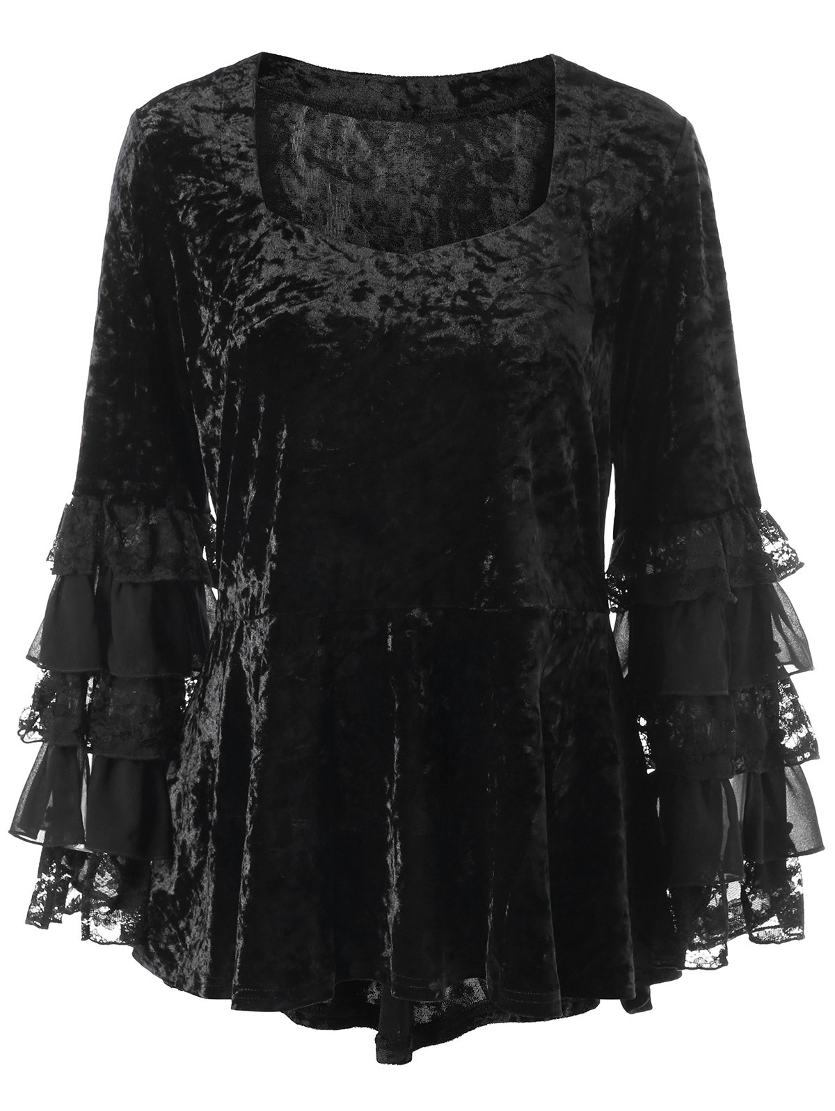Affordable Halloween Plus Size Velvet Layered Sleeve Top