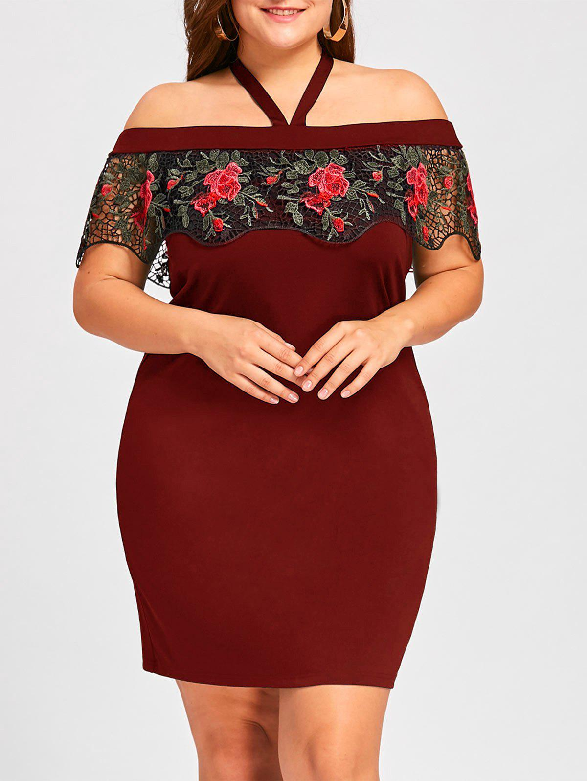 Plus Size Halter Embroidery Mini Tight DressWOMEN<br><br>Size: XL; Color: RED; Style: Brief; Material: Polyester,Spandex; Silhouette: Sheath; Dresses Length: Mini; Neckline: Halter; Sleeve Length: Short Sleeves; Embellishment: Embroidery,Lace; Pattern Type: Floral; With Belt: No; Season: Fall,Spring,Summer; Weight: 0.3100kg; Package Contents: 1 x Dress;
