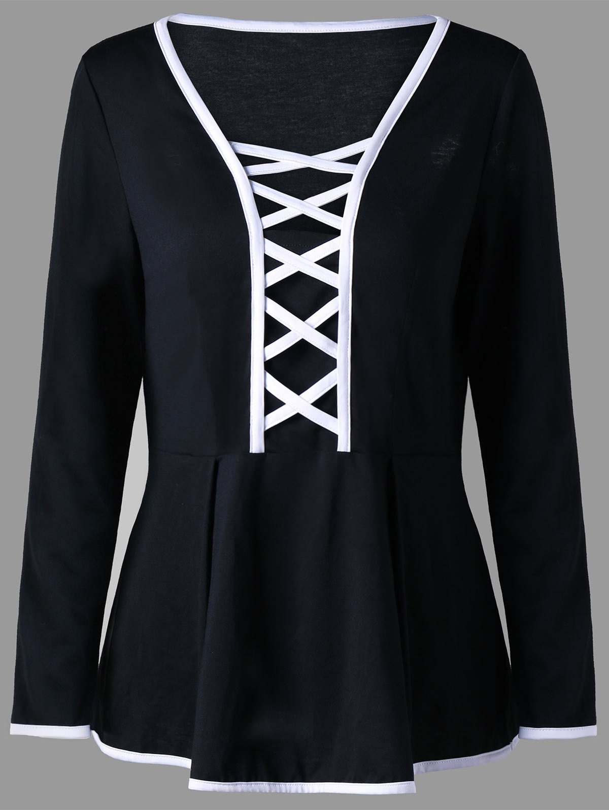 Plus Size Criss Cross Long Sleeve Peplum TopWOMEN<br><br>Size: 3XL; Color: BLACK; Material: Polyester,Spandex; Shirt Length: Regular; Sleeve Length: Full; Collar: V-Neck; Style: Fashion; Season: Fall,Spring; Pattern Type: Solid; Weight: 0.2700kg; Package Contents: 1 x Top;