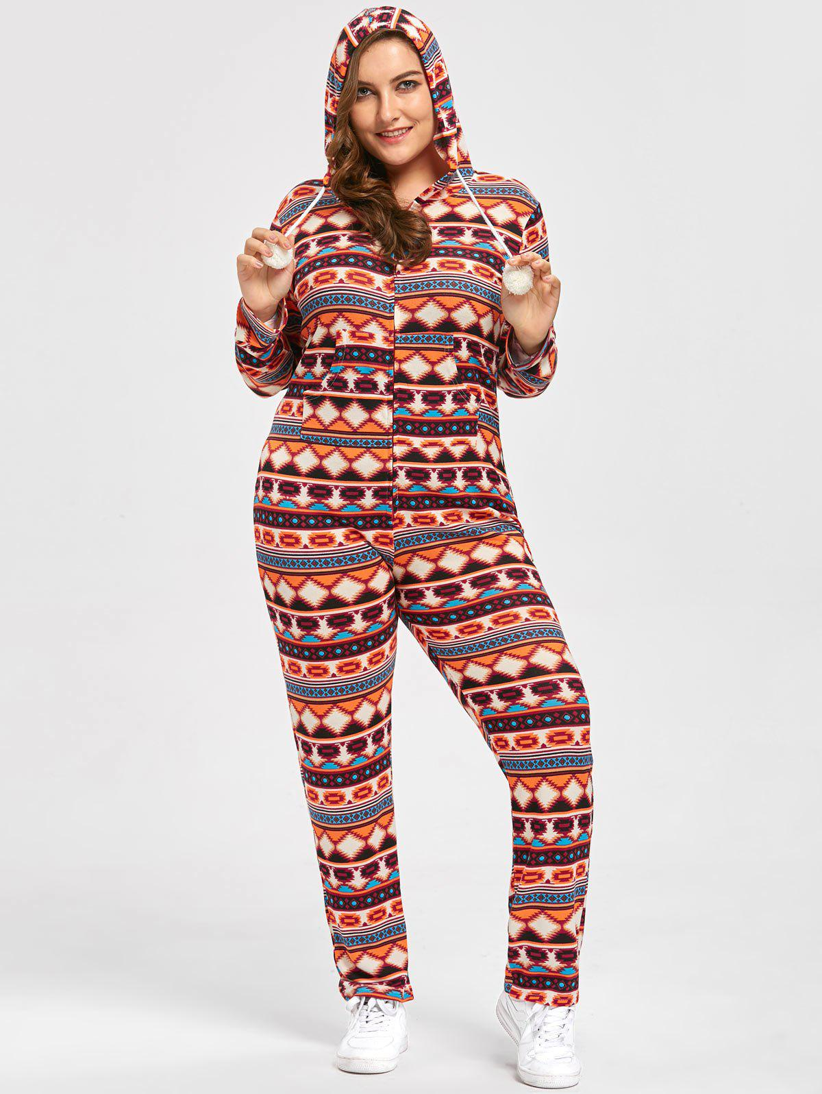Plus Size Christmas Pajamas.Plus Size Christmas Fair Isle Onesie Jumpsuit With Pompous