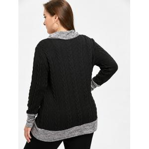 Plus Size Cable Knitted Cowl Neck Sweater -