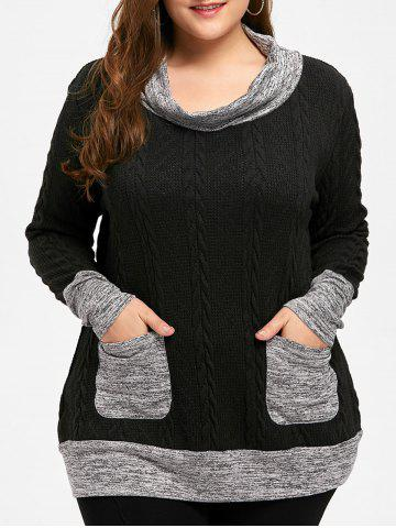 Plus Size Cable Knitted Cowl Neck Sweater - BLACK - 5XL
