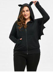 Halloween Plus Size Kangaroo Pocket Batwing Sleeve Hoodie -