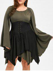Plus Size Batwing Sleeve Lace Up Dress - Army Green - 5xl
