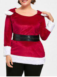 Christmas Plus Size Two Tone Plush Hoodie -