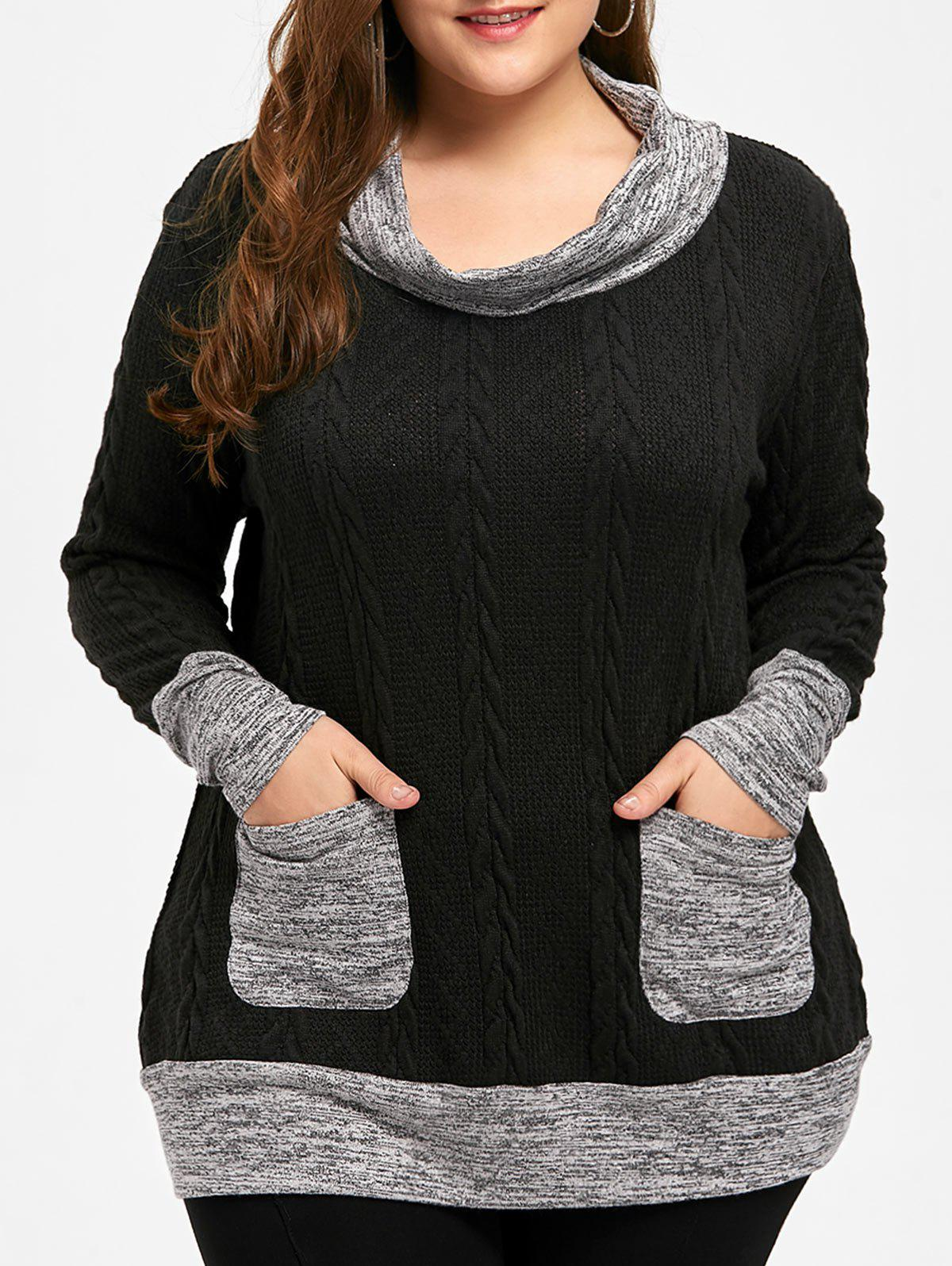 Plus Size Cable Knitted Cowl Neck SweaterWOMEN<br><br>Size: 2XL; Color: BLACK; Type: Pullovers; Material: Polyester,Spandex; Sleeve Length: Full; Collar: Cowl Neck; Style: Casual; Season: Fall,Spring; Pattern Type: Solid; Weight: 0.4800kg; Package Contents: 1 x Sweater;