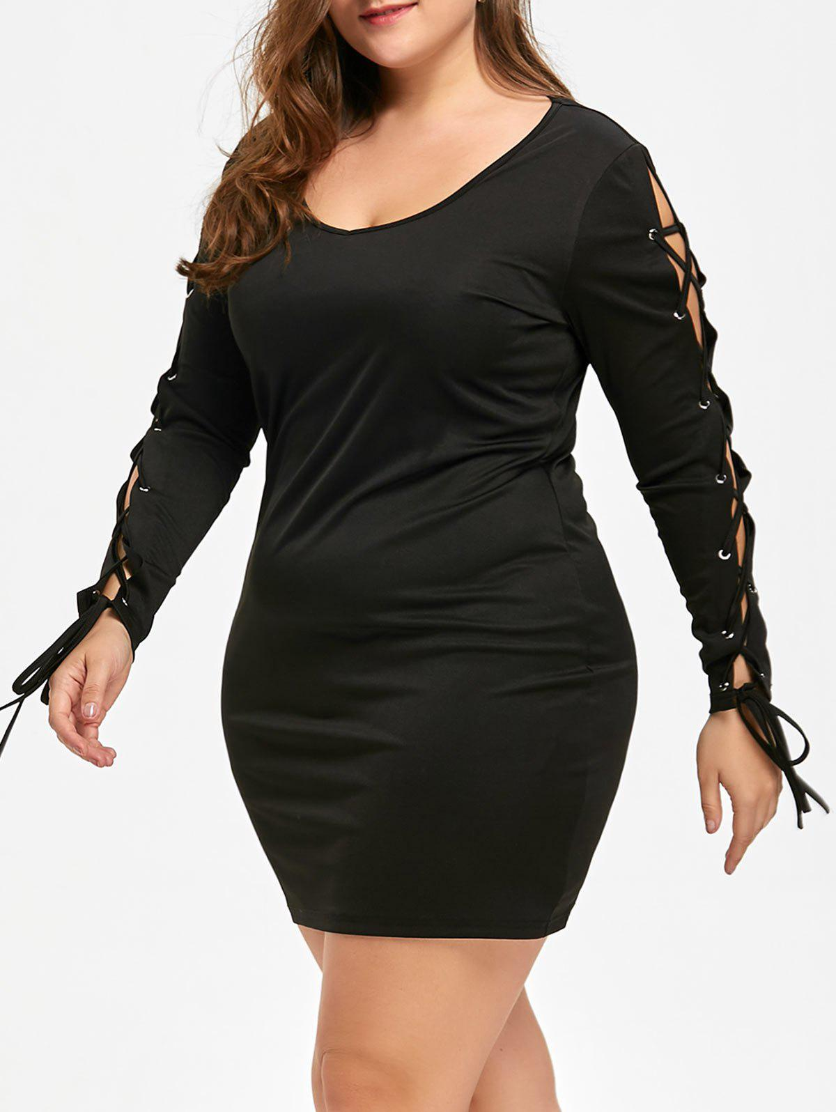 Plus Size Long Sleeve Lace Up Mini DressWOMEN<br><br>Size: XL; Color: BLACK; Style: Brief; Material: Polyester,Spandex; Silhouette: Sheath; Dresses Length: Mini; Neckline: Scoop Neck; Sleeve Length: Long Sleeves; Pattern Type: Solid Color; With Belt: No; Season: Fall,Spring; Weight: 0.3200kg; Package Contents: 1 x Dress;