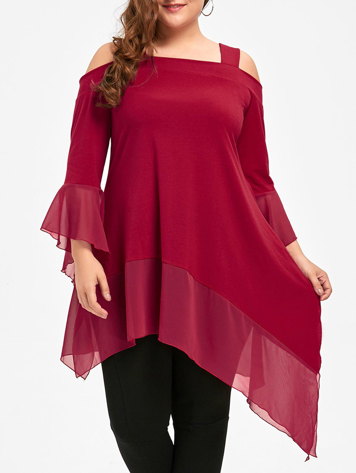 Plus Size Open Shoulder Asymmetric Tunic TopWOMEN<br><br>Size: 4XL; Color: RED; Material: Polyester,Spandex; Shirt Length: Long; Sleeve Length: Three Quarter; Collar: Square Neck; Style: Fashion; Season: Fall,Spring; Pattern Type: Solid; Weight: 0.3500kg; Package Contents: 1 x Top;