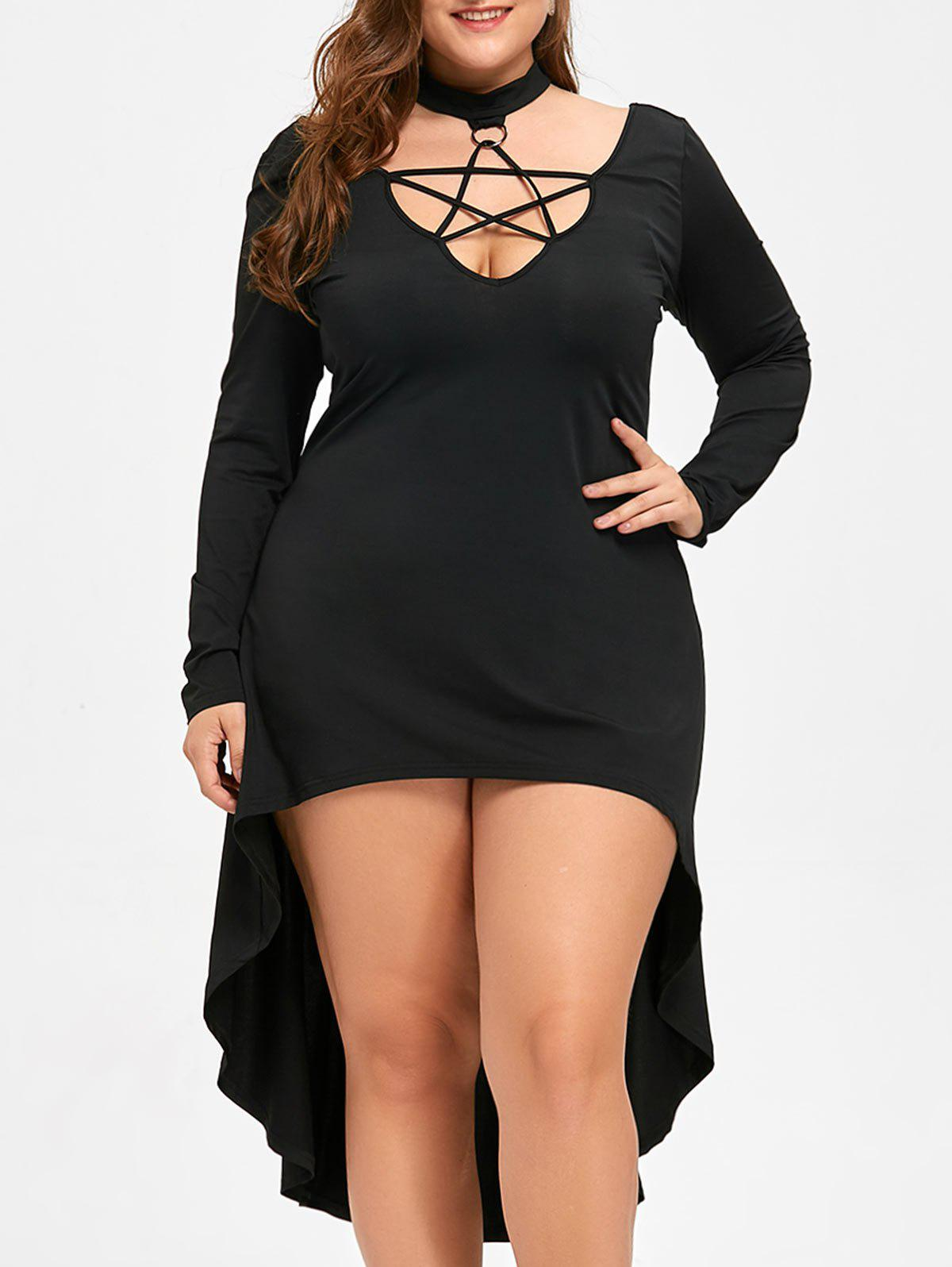 Halloween Plus Size Cutout Lace Up Hot Cocktail DressWOMEN<br><br>Size: 5XL; Color: BLACK; Style: Club; Material: Polyester,Spandex; Silhouette: A-Line; Dresses Length: Mid-Calf; Neckline: Mock Neck; Sleeve Length: Long Sleeves; Pattern Type: Solid Color; With Belt: No; Season: Fall,Spring; Weight: 0.3700kg; Package Contents: 1 x Dress;