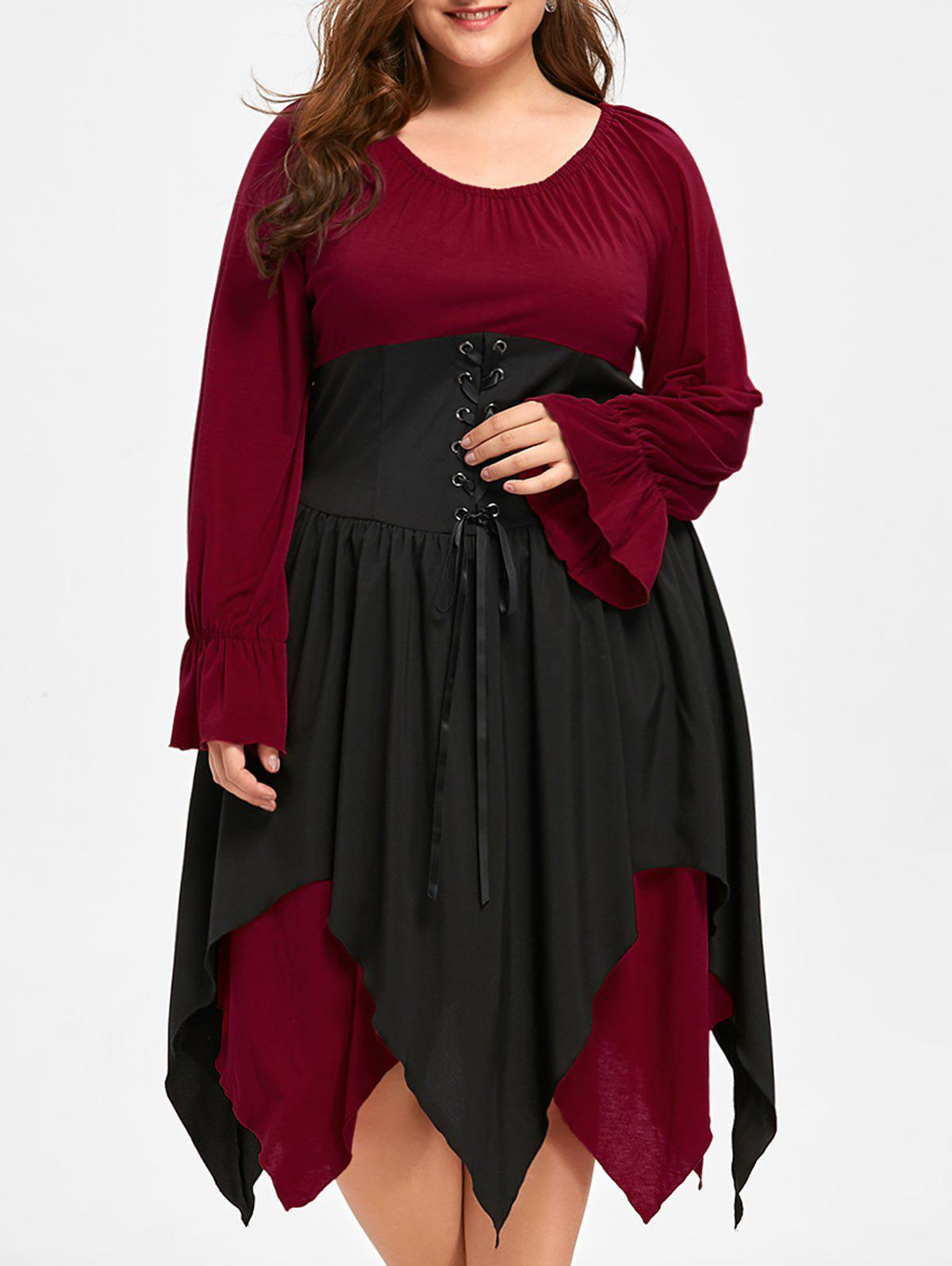 Plus Size Halloween Lace Up Handkerchief DressWOMEN<br><br>Size: 5XL; Color: DEEP RED; Style: Novelty; Material: Polyester,Spandex; Silhouette: A-Line; Dresses Length: Mid-Calf; Neckline: Scoop Neck; Sleeve Length: Long Sleeves; Pattern Type: Solid; With Belt: No; Season: Fall,Spring; Weight: 0.5900kg; Package Contents: 1 x Dress;