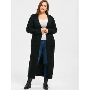 Plus Size Ribbed Two Pockets Long Collarless Cardigan -