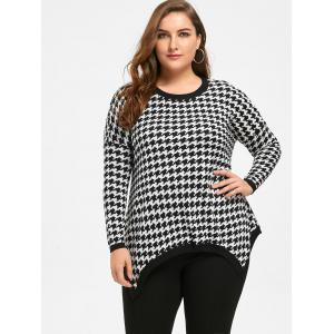 Plus Size  Asymmetric Houndstooth Sweater -