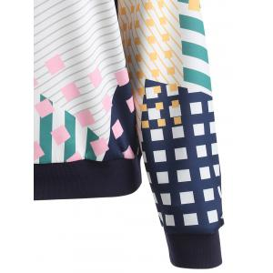 Geometric Striped Printed Plus Size Sweatshirt -